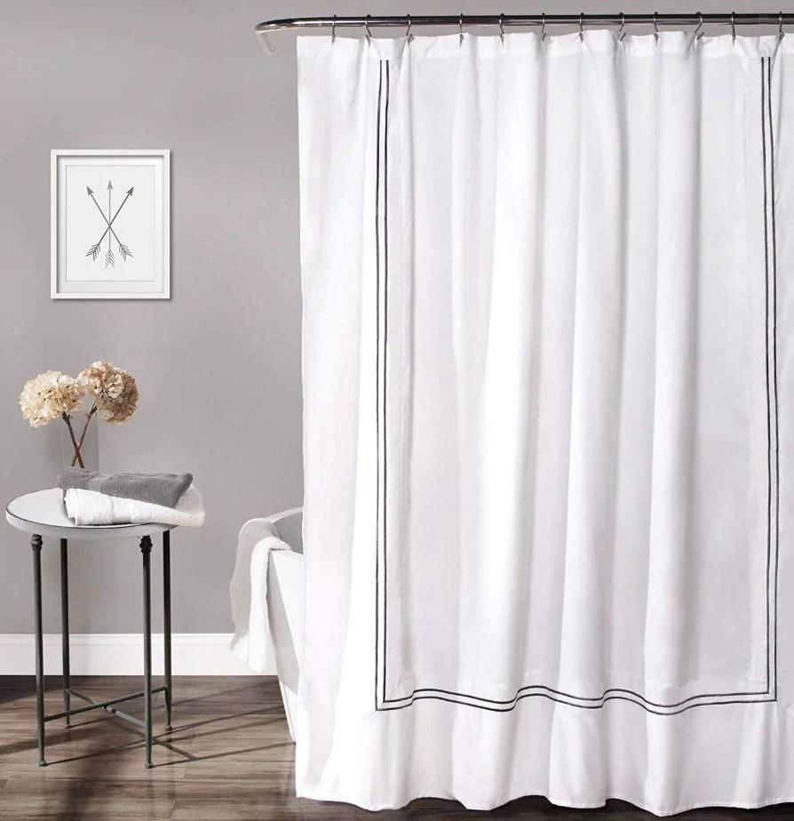wamsutta baratta stitch 72 inch x 72 inch shower curtain in white charcoal
