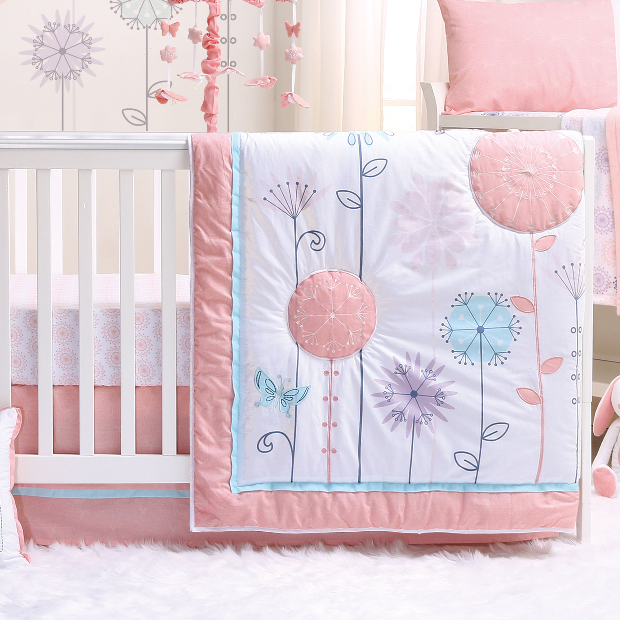 wildflower 3 piece baby crib bedding set coral purple floral butterfly