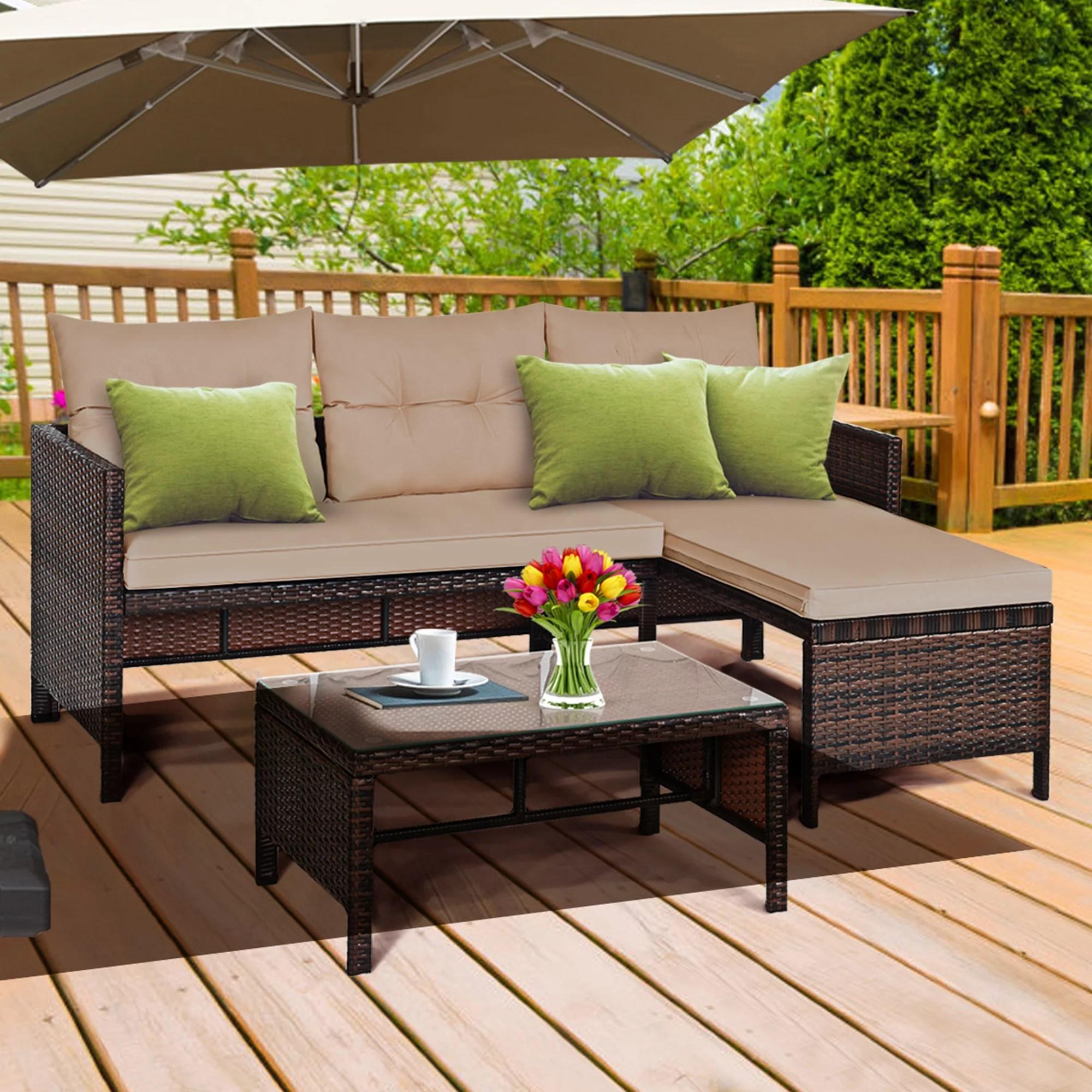 gymax 3pcs outdoor rattan furniture set patio couch sofa set w coffee table walmart com