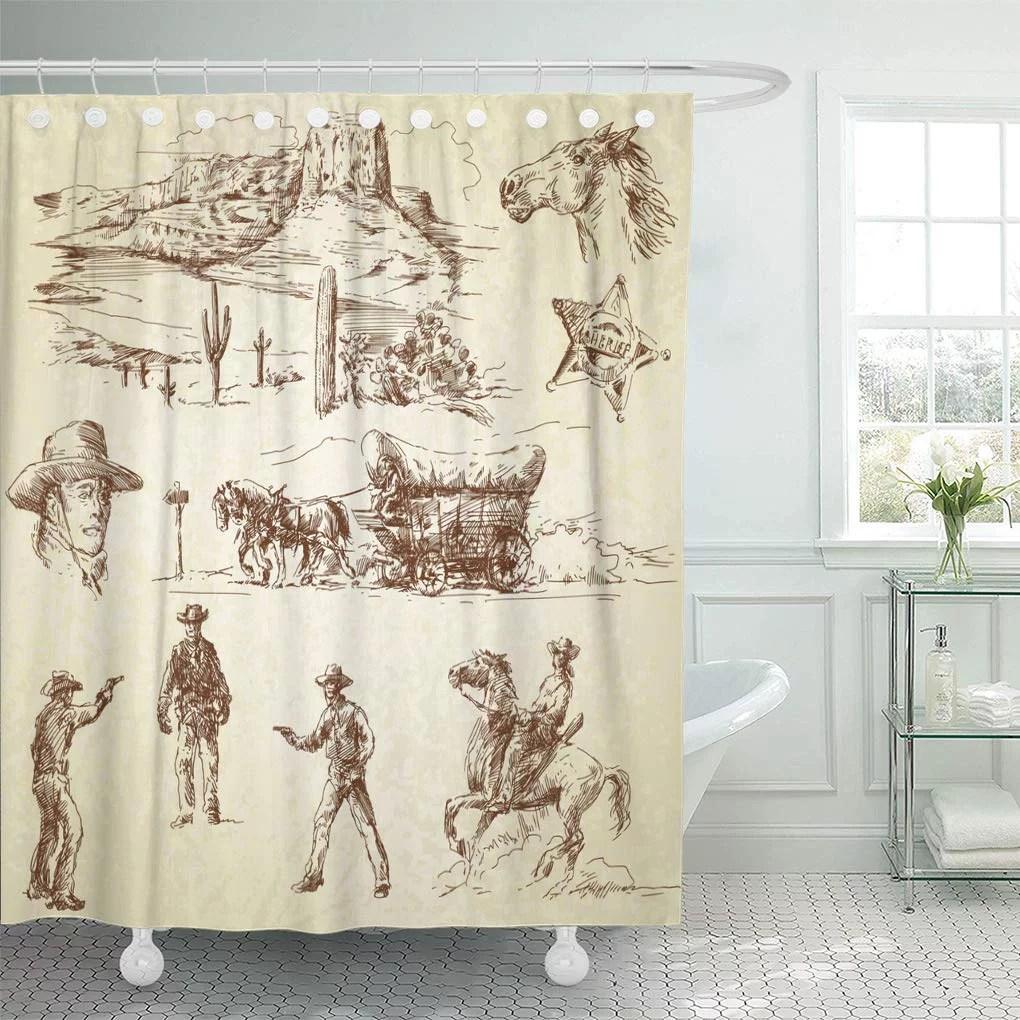 cynlon vintage western wild west cowboy drawing old sketch cactus bathroom decor bath shower curtain 60x72 inch