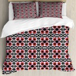 Boho King Size Duvet Cover Set Suzani Pattern Oriental Floral Design With Sketch Style Swirls Petals Decorative 3 Piece Bedding Set With 2 Pillow Shams Orange Fuchsia And Black By Ambesonne