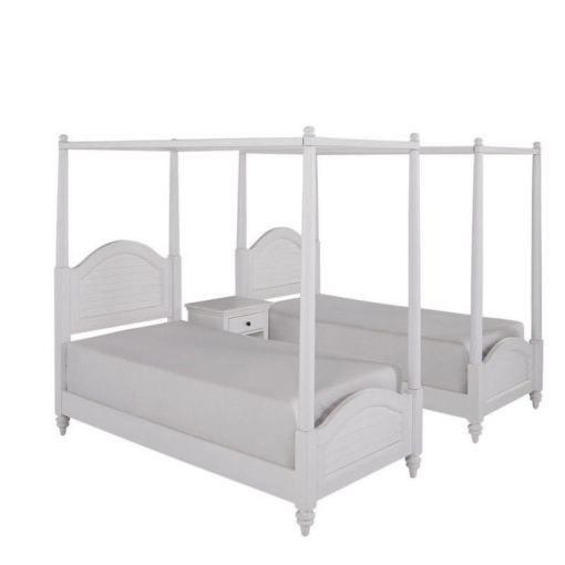 White Two Twin Canopy Beds with Night Stand   Walmart com White Two Twin Canopy Beds with Night Stand