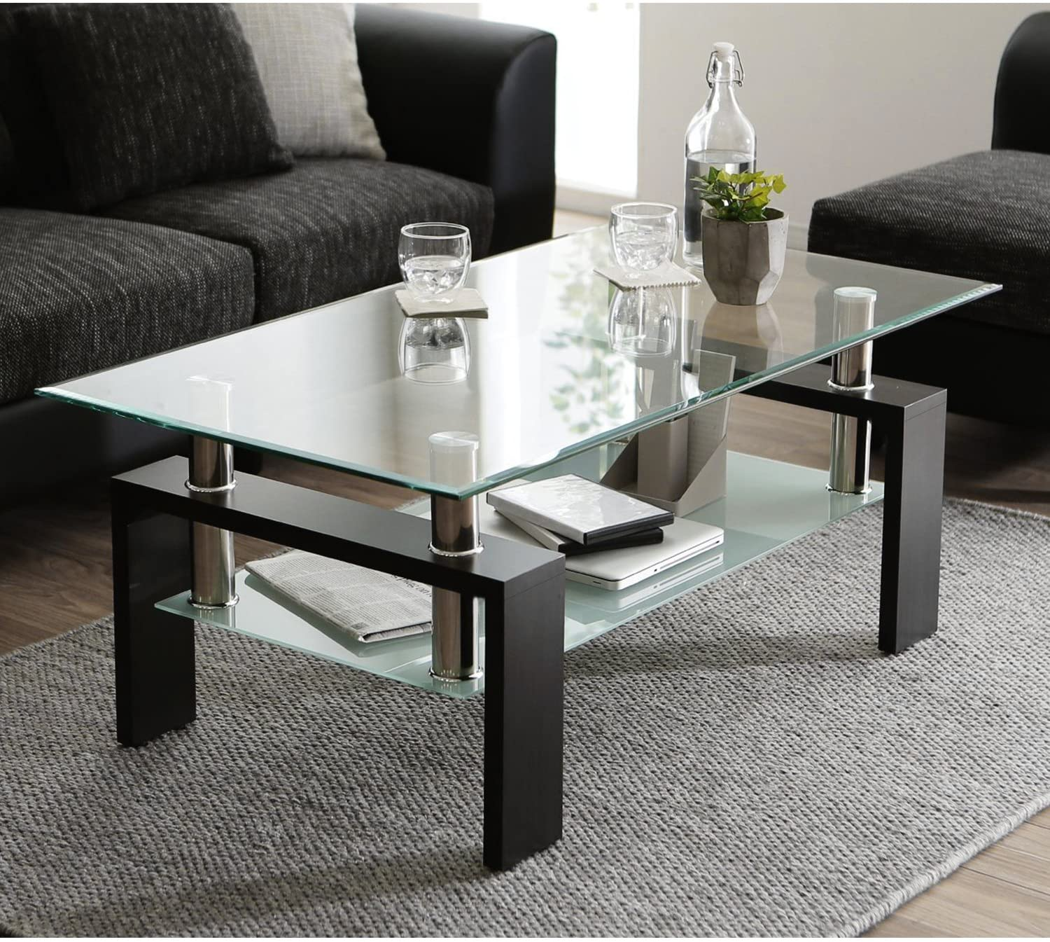 glass coffee table with lower shelf clear rectangle glass coffee table modern coffee table with metal legs rectangle center table sofa table home