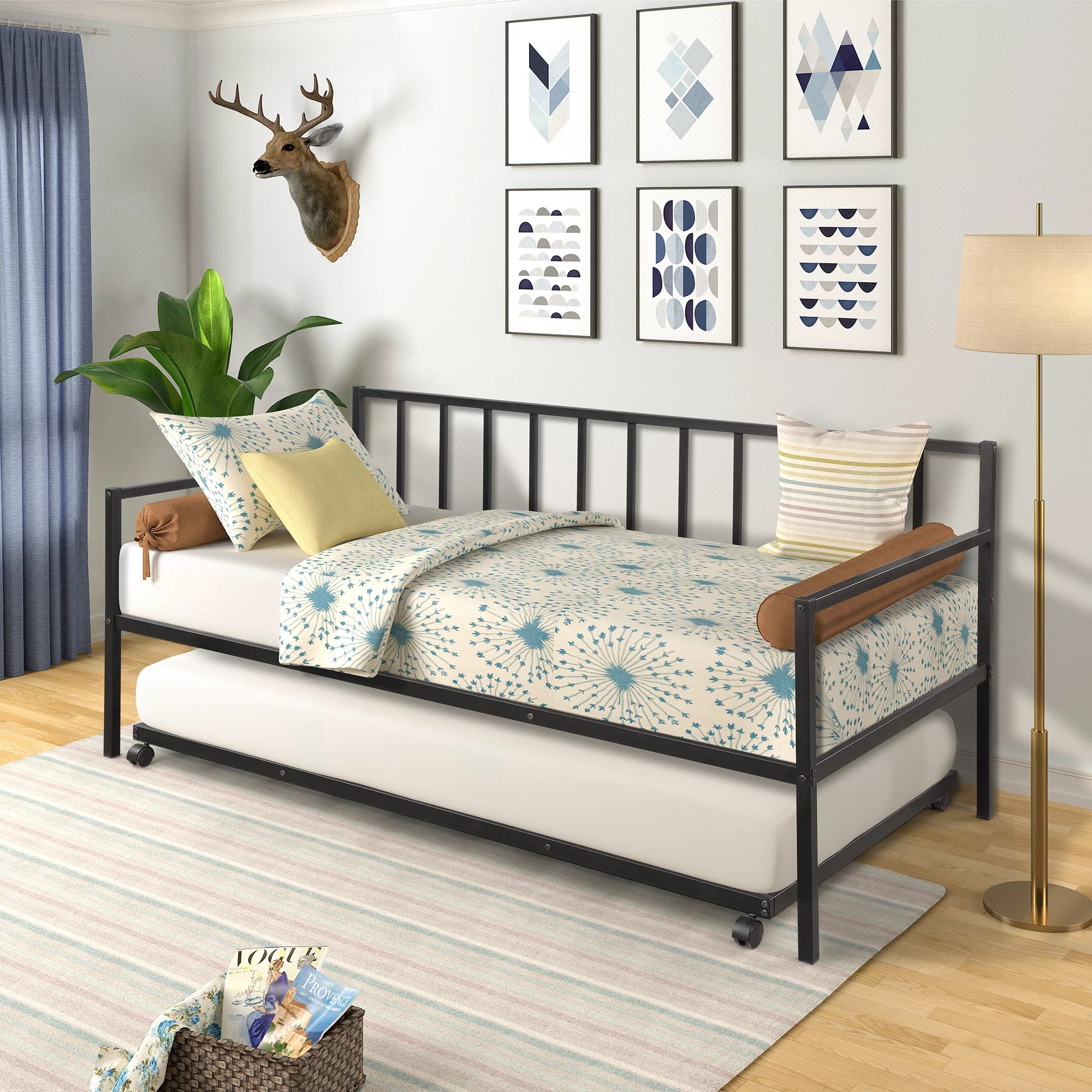 euroco twin metal daybed with trundle black