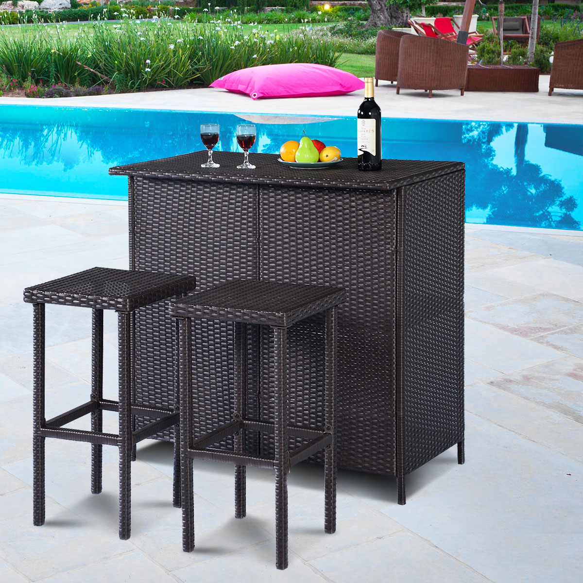 costway 3pcs patio rattan wicker bar table stools dining set cushioned chairs garden