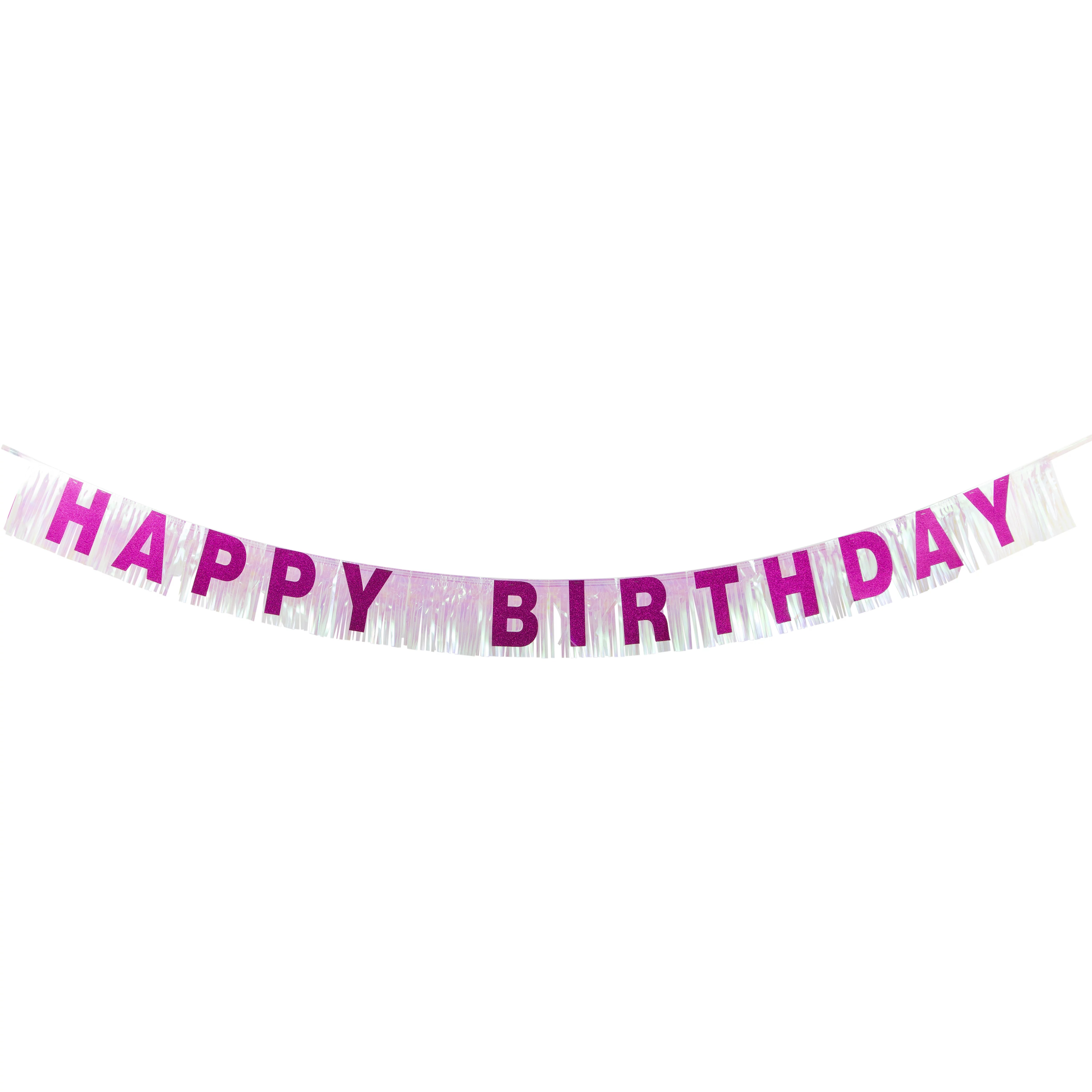 Way To Celebrate Foil Fringe Pink Happy Birthday Party Banner 6 25in X 7ft 1ct Walmart Com Walmart Com