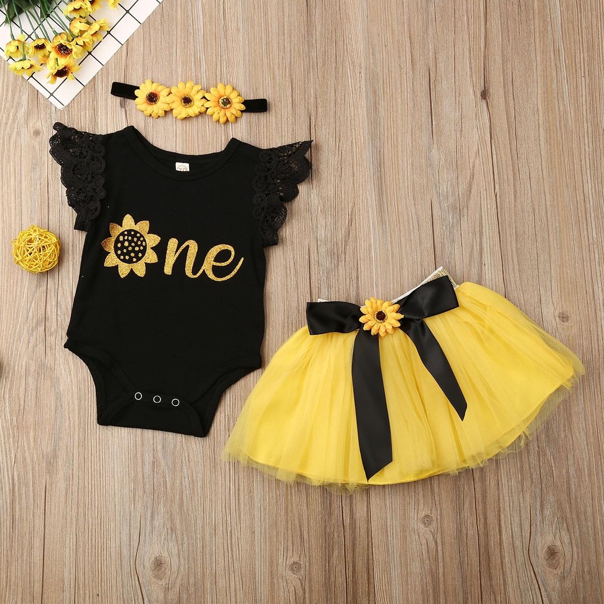 Toddler Baby Girls 1st Birthday Outfits Princess Romper Tutu Skirt Headband Set Walmart Canada