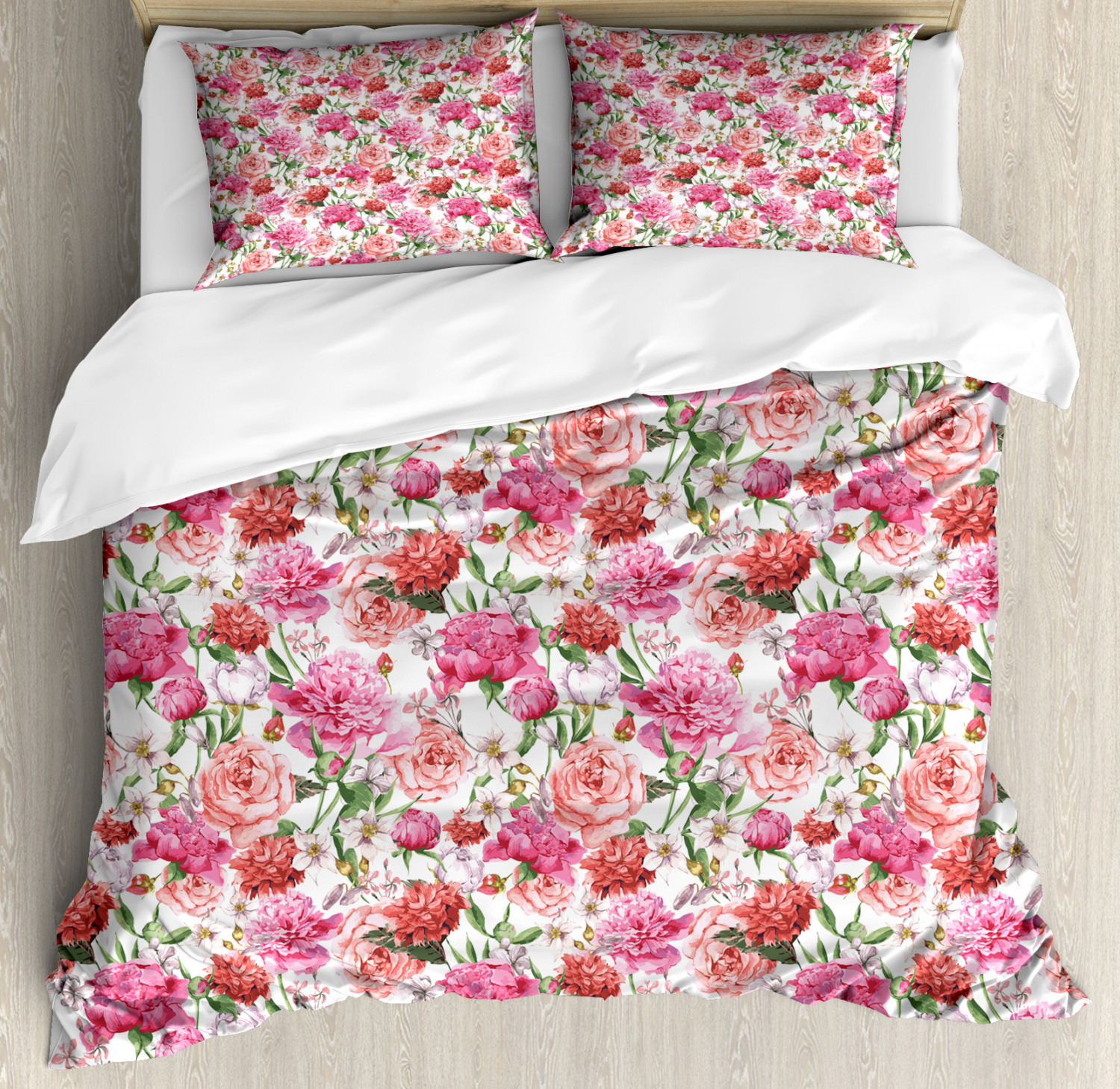 shabby chic duvet cover set summer spring garden flowers with leaves and buds artwork decorative bedding set with pillow shams orange hot pink and