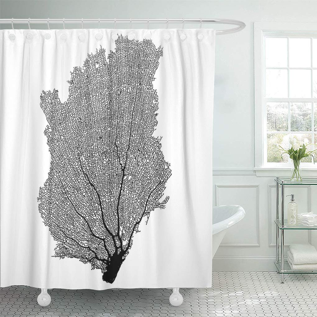 suttom fossil black fish coral sea fan g white silhouette shower curtain 60x72 inch