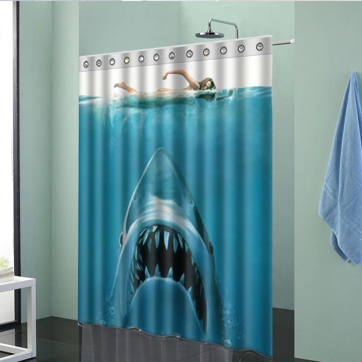 waterproof shark underwater jaws polyester bath shower curtain 60 x 72 w
