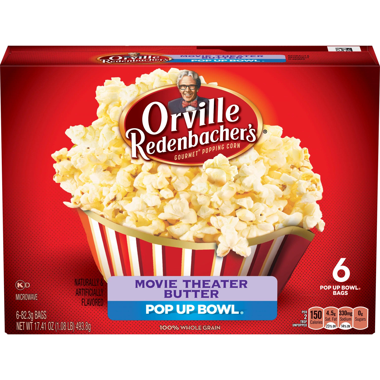 orville redenbacher s movie theater butter microwave popcorn pop up bowl 6 count walmart com