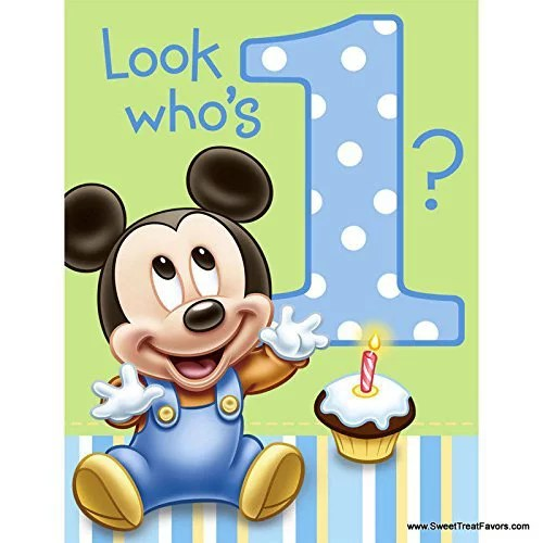 Mickey Mouse Baby 1st Birthday Edible Icing Image Cake