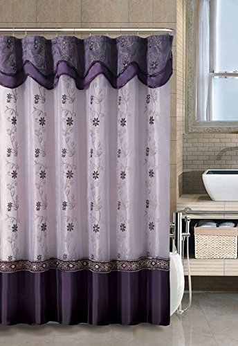 vcny home daphne embroidered sheer taffeta fabric shower curtains purple