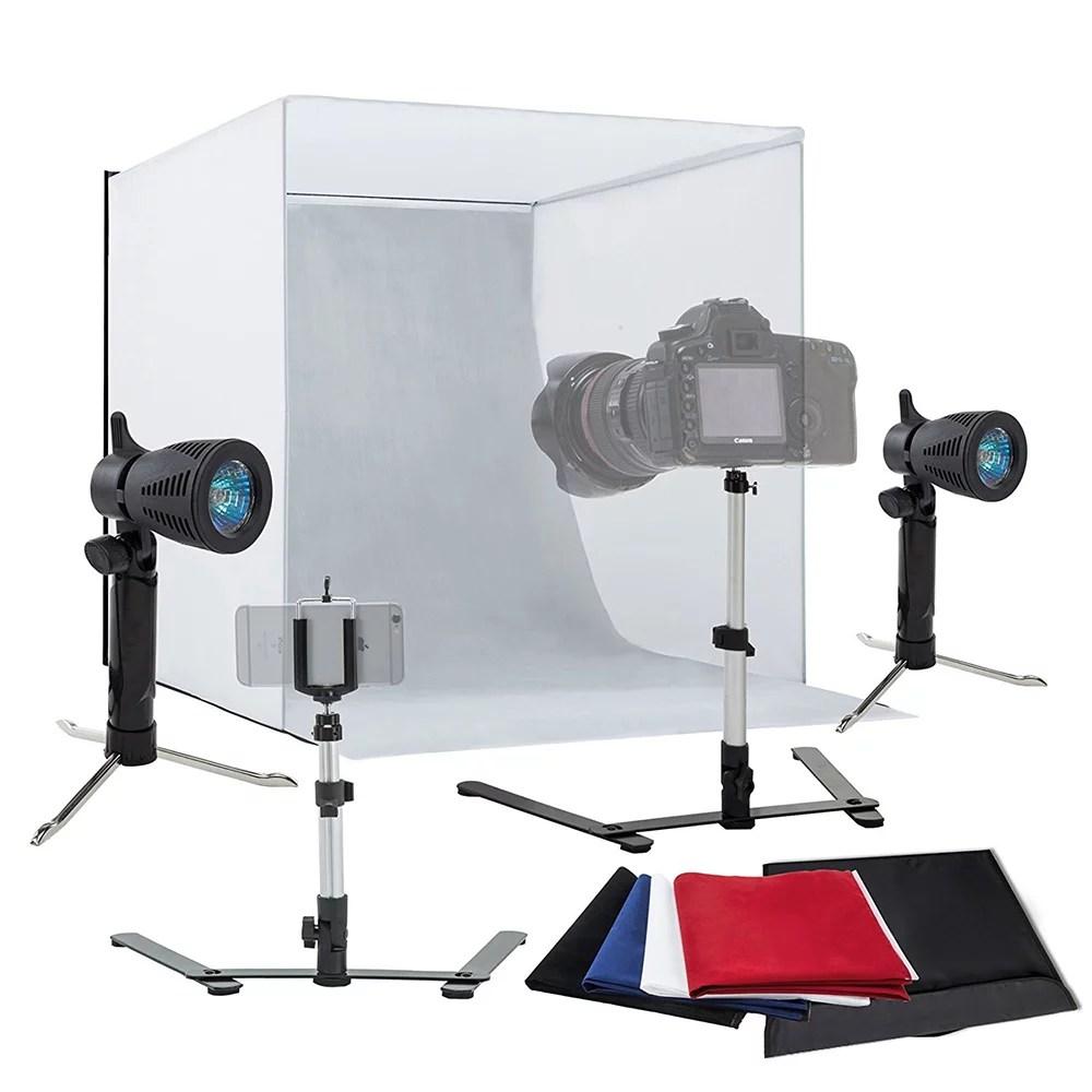 table top photography studio light tent kit in a box photo tent shelves mini studio set mini camera stand photo video studio softbox lighting kit