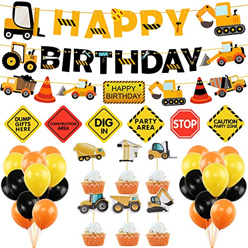 Construction Birthday Party Supplies Dump Truck Party Decorations Kits Cars Trucks Birthday Sign With Garland For Kids Birthday Party Construction Theme Party Walmart Canada