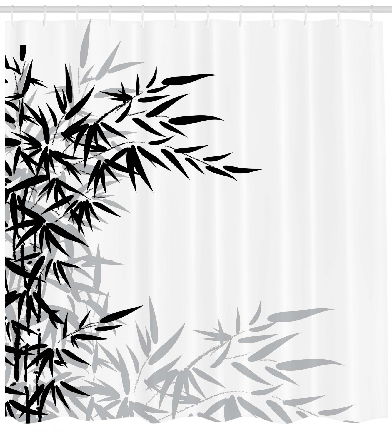 Bamboo Shower Curtain Bamboo Leaves On Clear Simple Background Organic Life Artistic Illustration Fabric Bathroom Set With Hooks Black And White