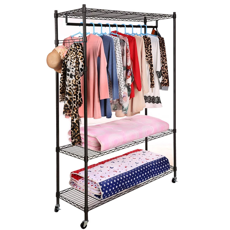 47 x 18 x 74 closet organizer garment rack portable clothes hanger home shelf clothes hanger home shelf up to 400lb walmart com