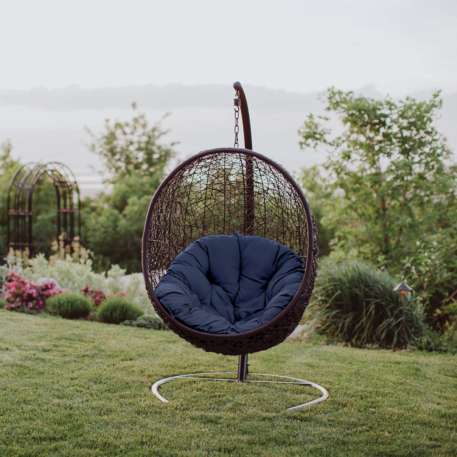 modway encase outdoor patio swing lounge chair multiple colors