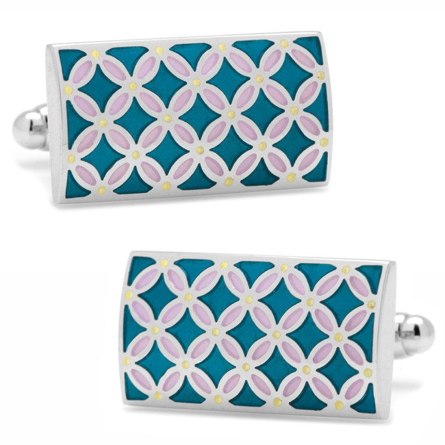 Ox and Bull NEW Men's Floral Rectangle Designer Novelty Dress Fashion Cufflinks