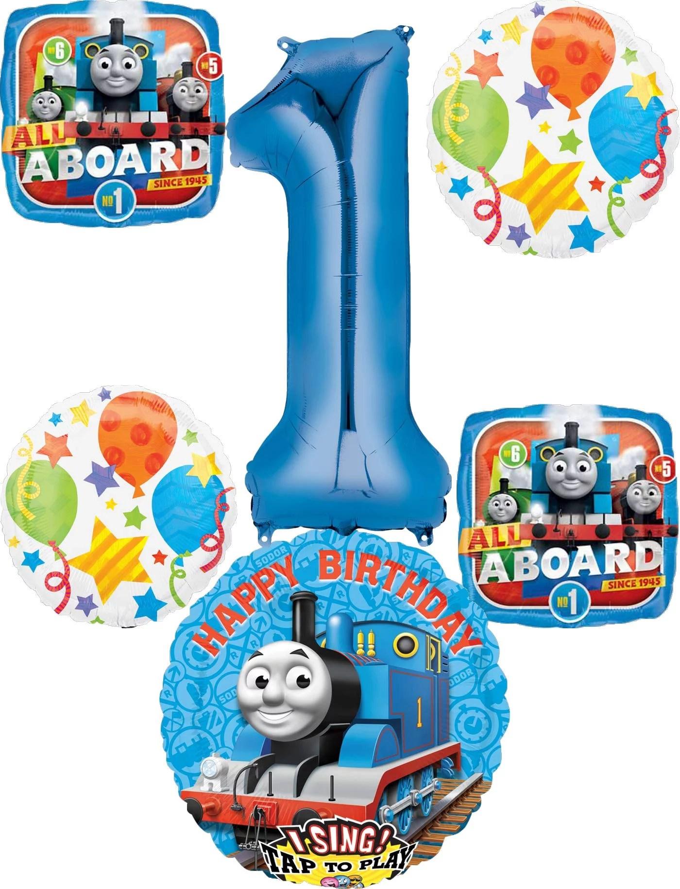 Thomas The Train Party Supplies 1st Birthday Sing A Tune Tank Engine Balloon Bouquet Decorations Walmart Com Walmart Com