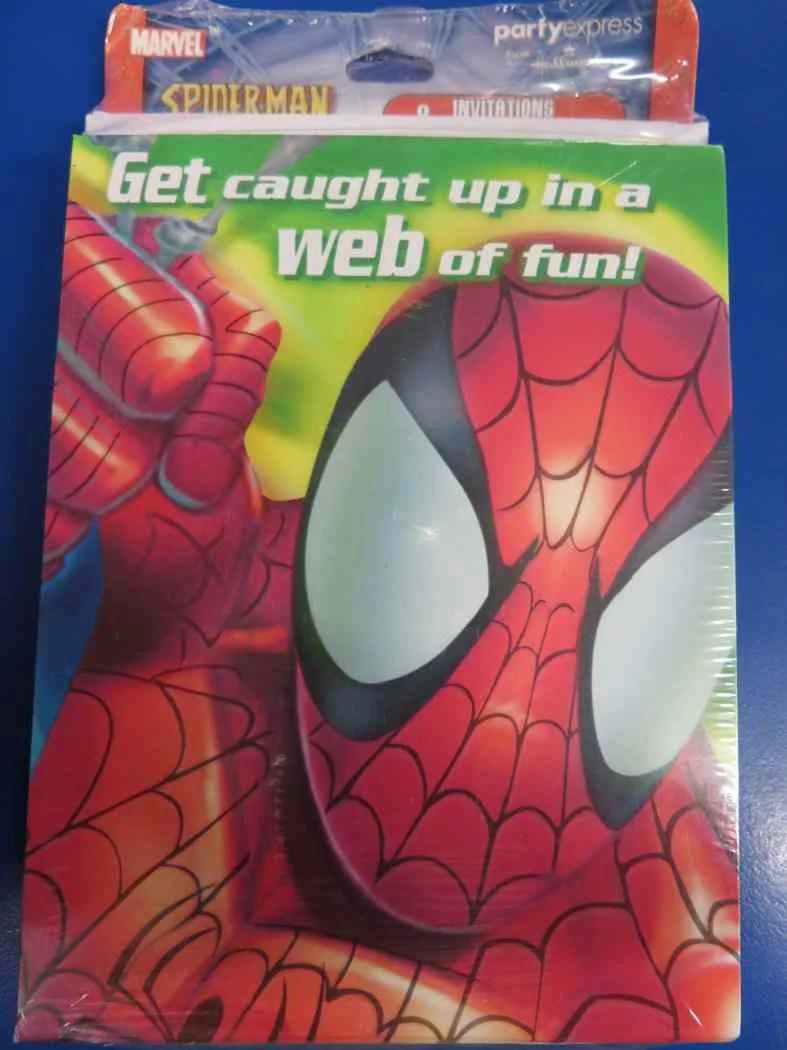 spider man green marvel superhero birthday party invitations thank you notes