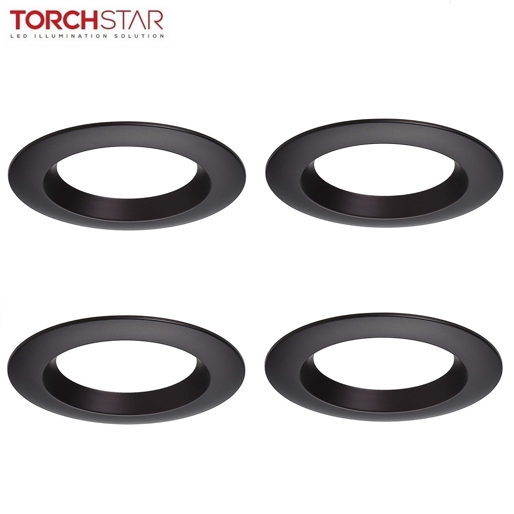 torchstar 4 pack 4 inch interchangeable trim ring recessed light fixture trim for recessed downlight oil rubbed bronze walmart com