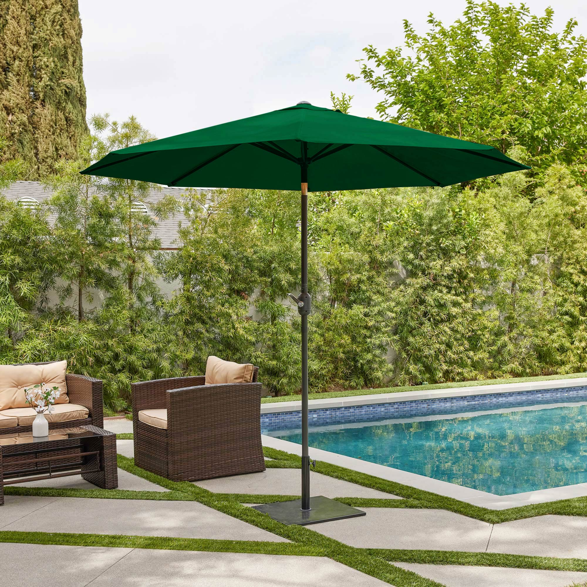 belleze 9 ft outdoor patio lawn umbrella uv resistant water resistant canopy cover shade with tilt function lawn
