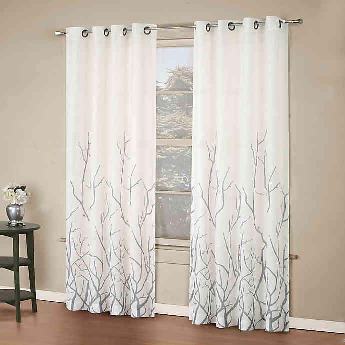 alton print 95 inch grommet top window curtain panel in white