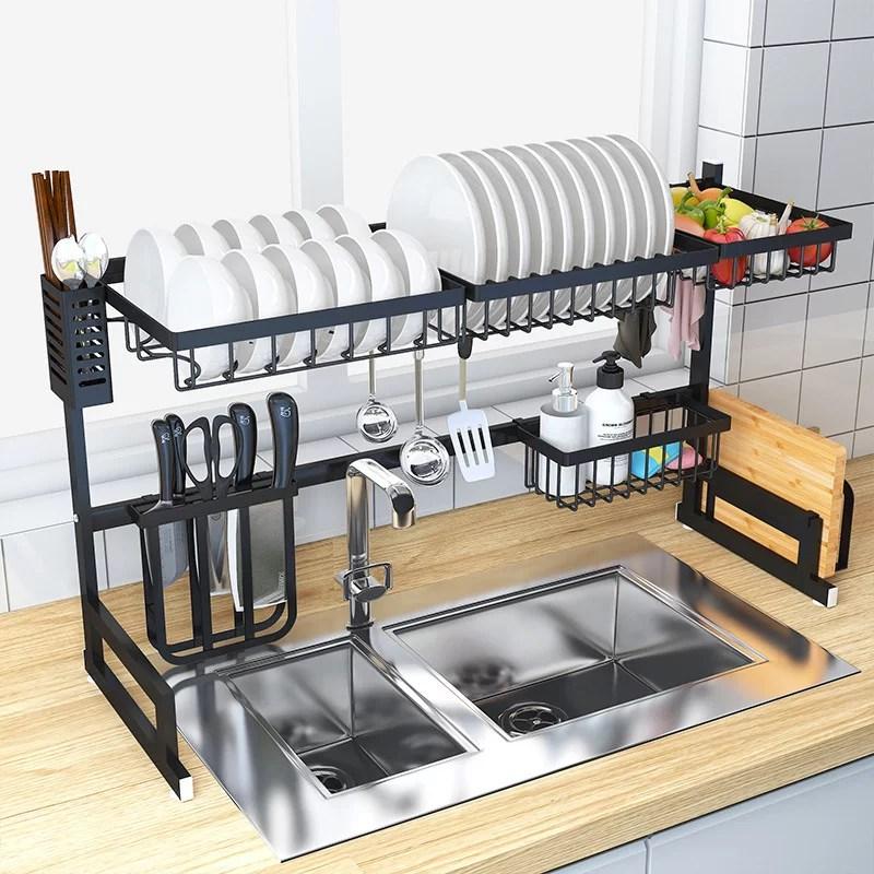 detachable countertop dish drying rack drain set thicken dish drying rack over the sink kitchen supplies storage shelf tableware drainer organizer