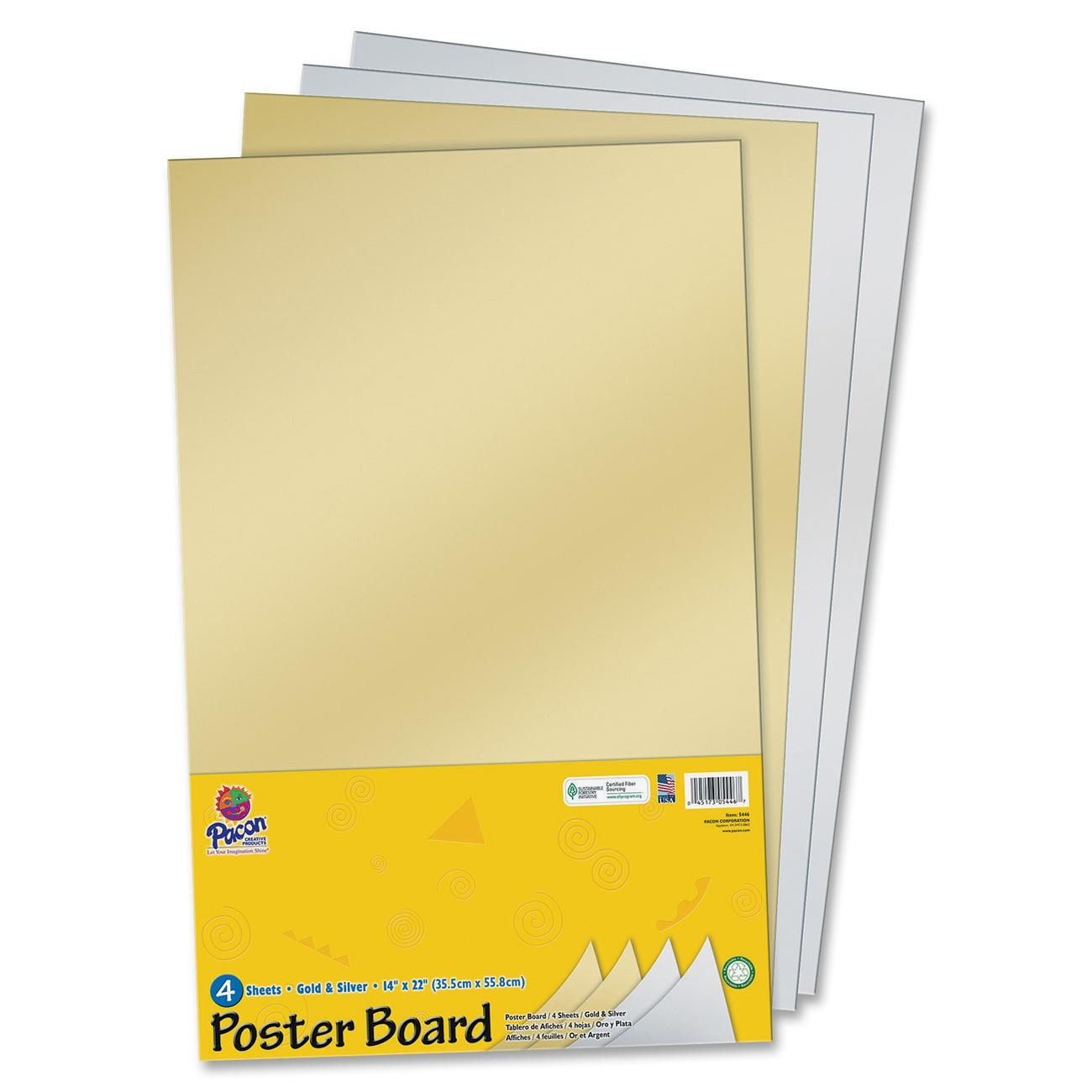 pacon half size sheet poster board pack of 4 gold silver
