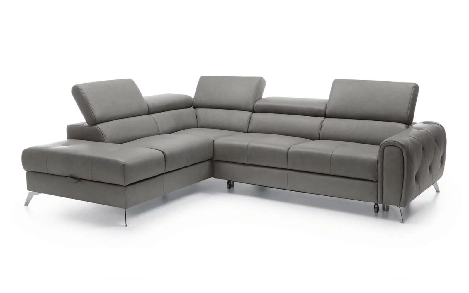 grey italian genuine leather sectional sofa bed storage modern left soflex camelia walmart com