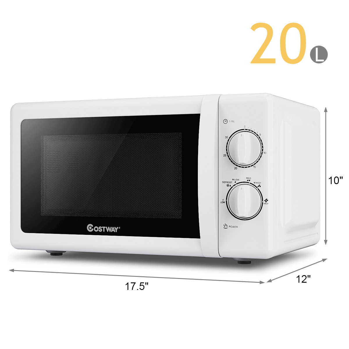 costway retro countertop microwave oven 0 7 cubic feet 700w rotary control mint green