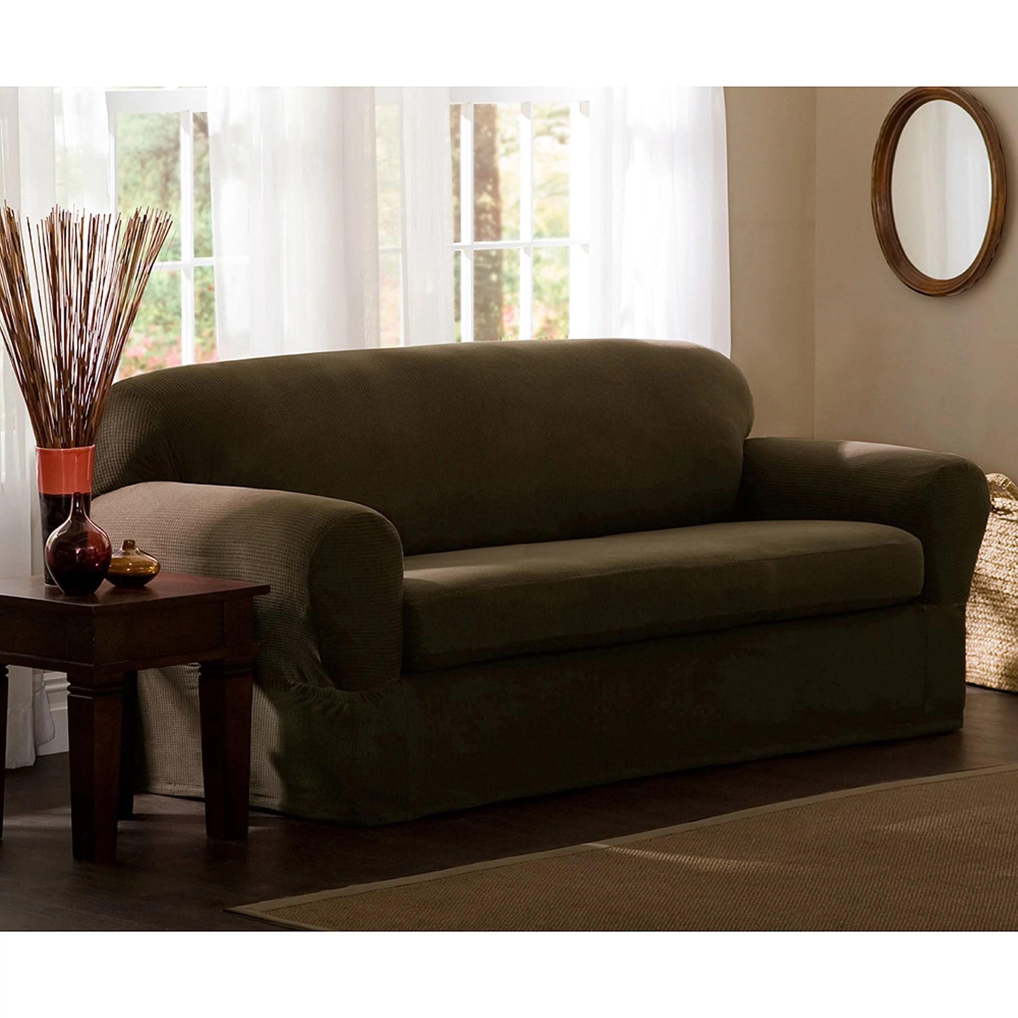 Zenna Home Small Rectangle Patterned 2 Piece Sofa Stretch Slipcover Chocolate Walmart Com Walmart Com