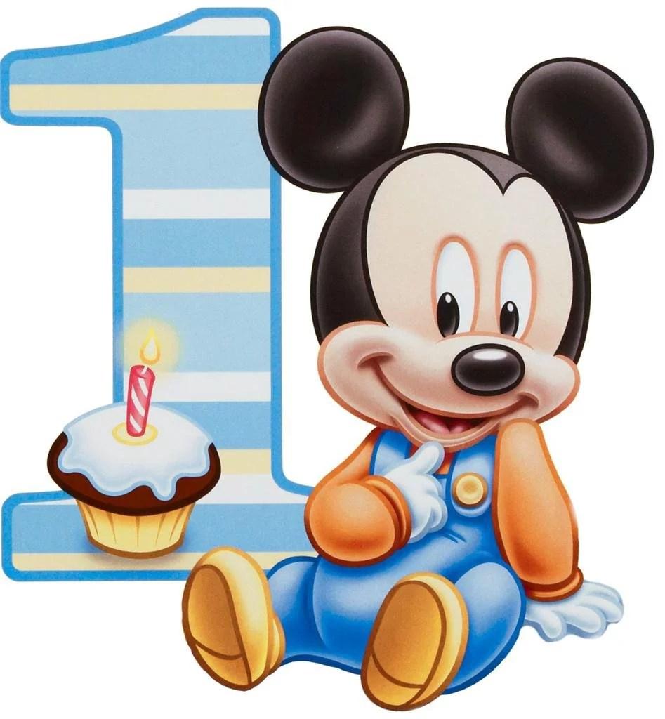 Baby Mickey Mouse First Birthday Edible Photo Cake Topper Walmart Com Walmart Com
