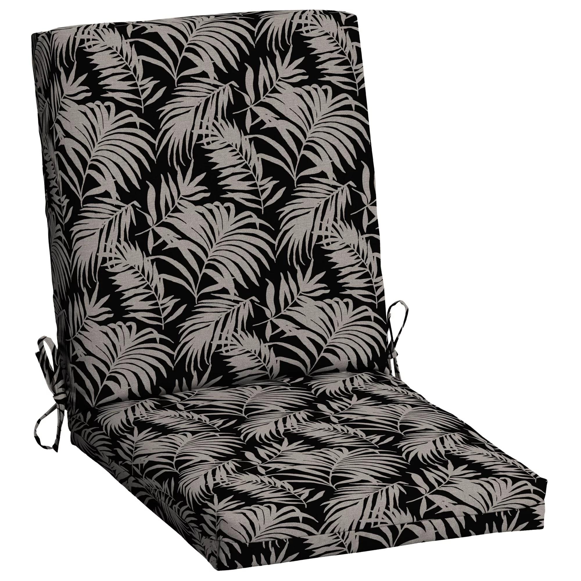 mainstays black and tan palm 43 x 20 in outdoor chair cushion walmart com