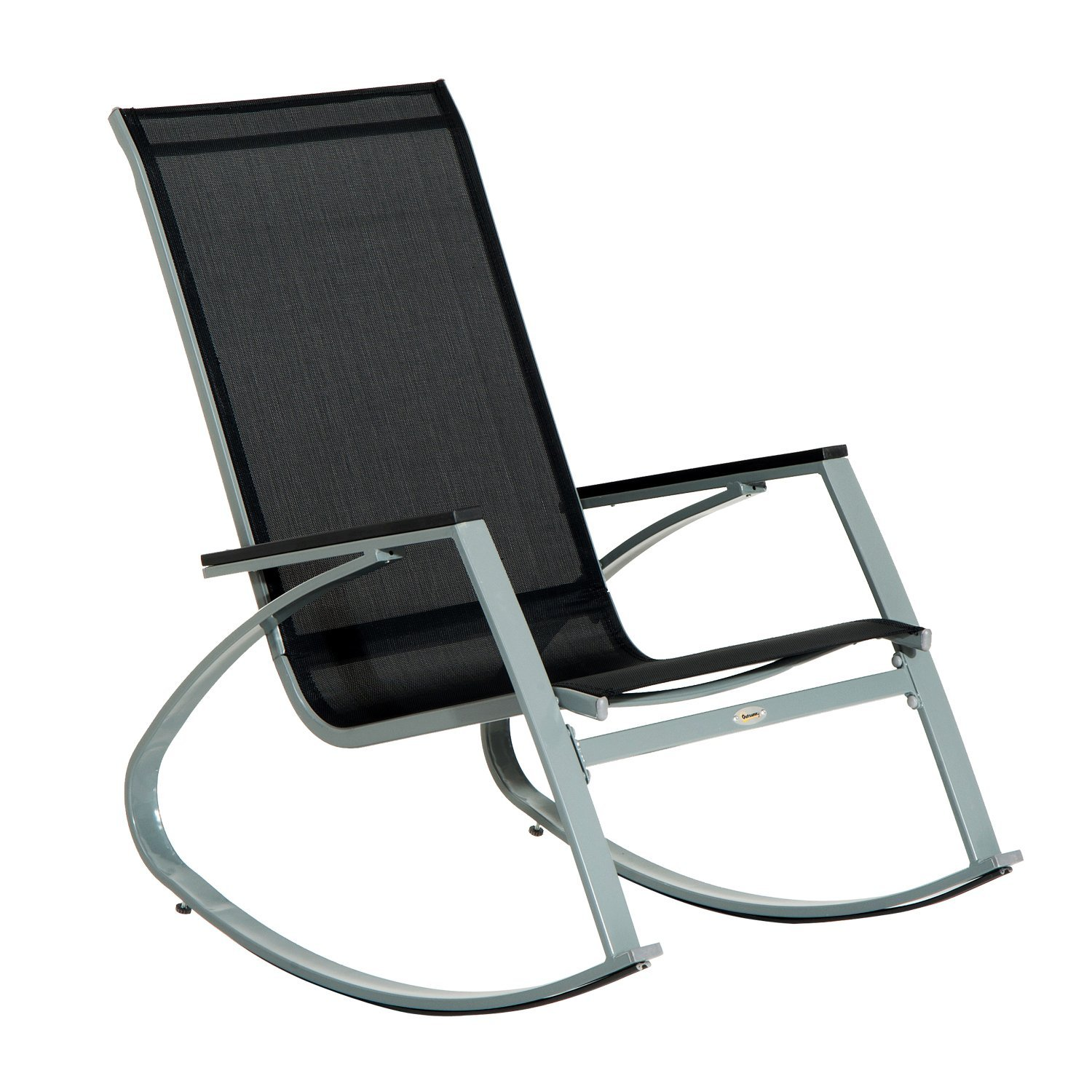 outsunny outdoor modern front porch patio rocking sling chair black silver