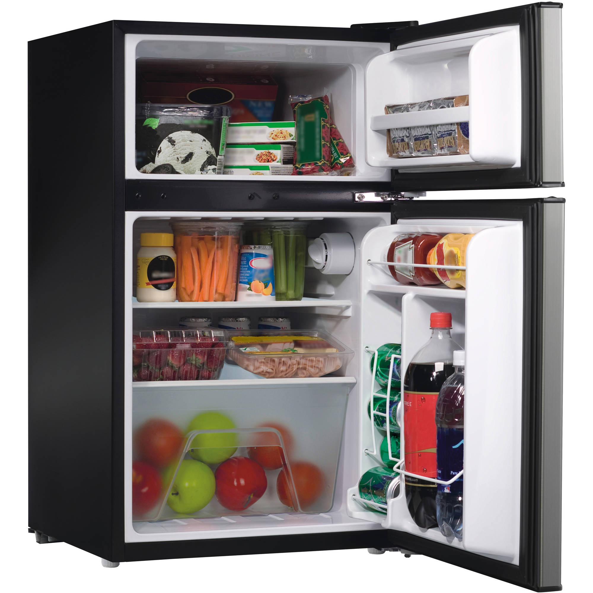 galanz 3.1cu ft compact refrigerator double door, stainless steel