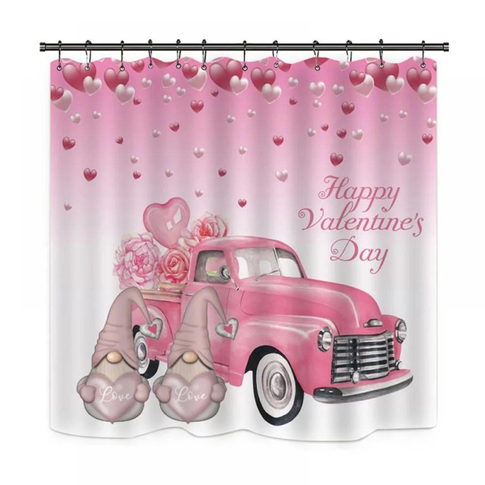 71 valentine s day love hearts shower curtain set for bathroom decor w hooks walmart com