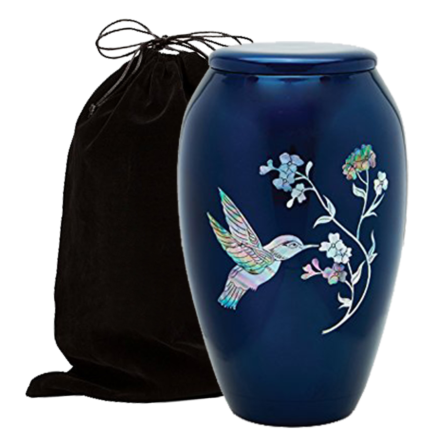 Mother of Pearl Inlaid Metal Cremation Urn - MOP Cremation Urn - Solid Metal Funeral Urn - Handcrafted Adult Funeral Urn for Ashes - Great Urn Deal with Free Bag (Blue Hummingbird)