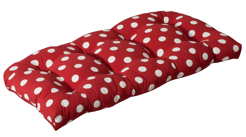 outdoor patio furniture wicker loveseat cushion red and white polka dot