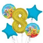 Winnie The Pooh Balloon Bouquet 8th Birthday 5 Pcs Party Supplies Walmart Com Walmart Com