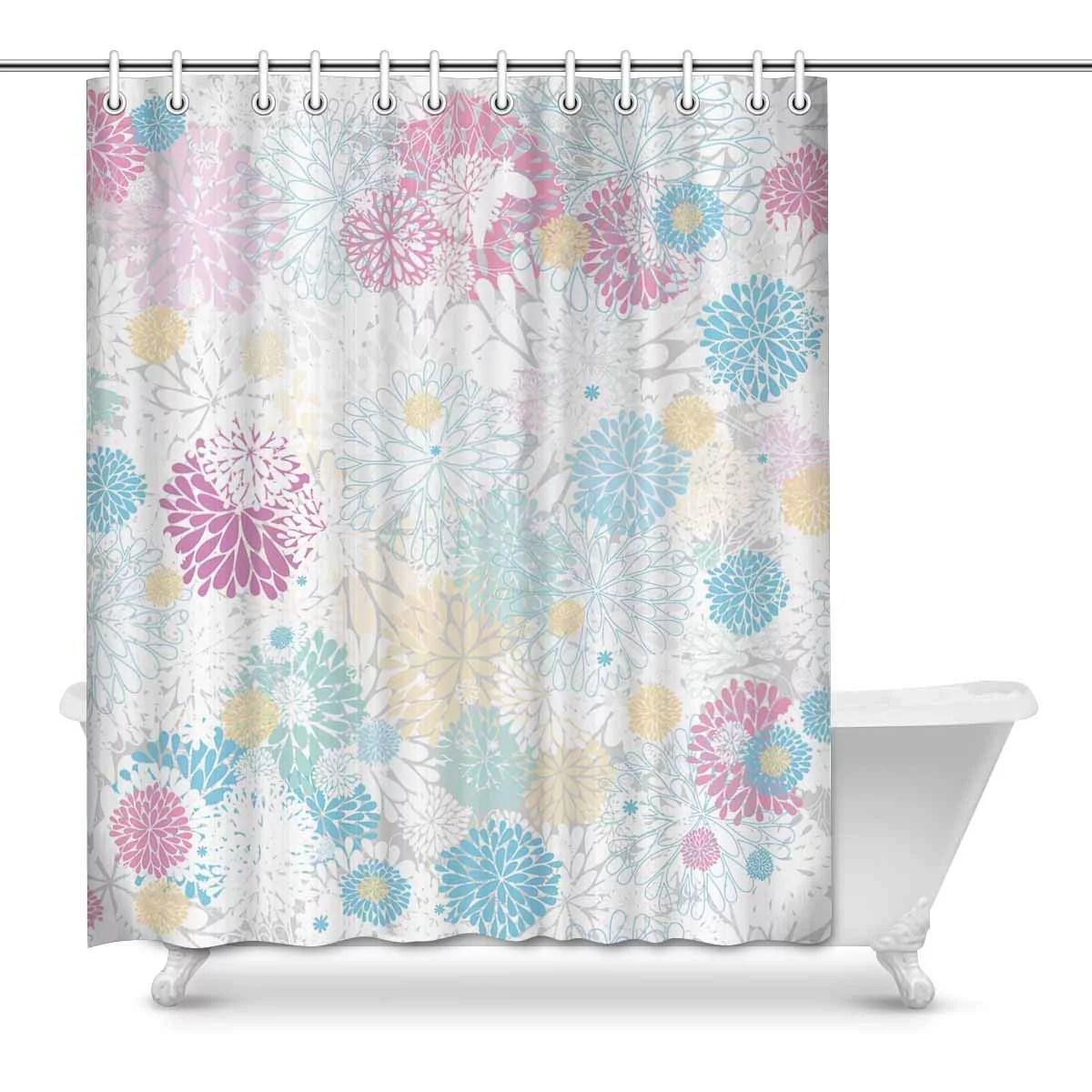 mkhert floral chrysanthemums daisy light blue pink house decor shower curtain bathroom decorative fabric bath curtain set rings 60x72 inch