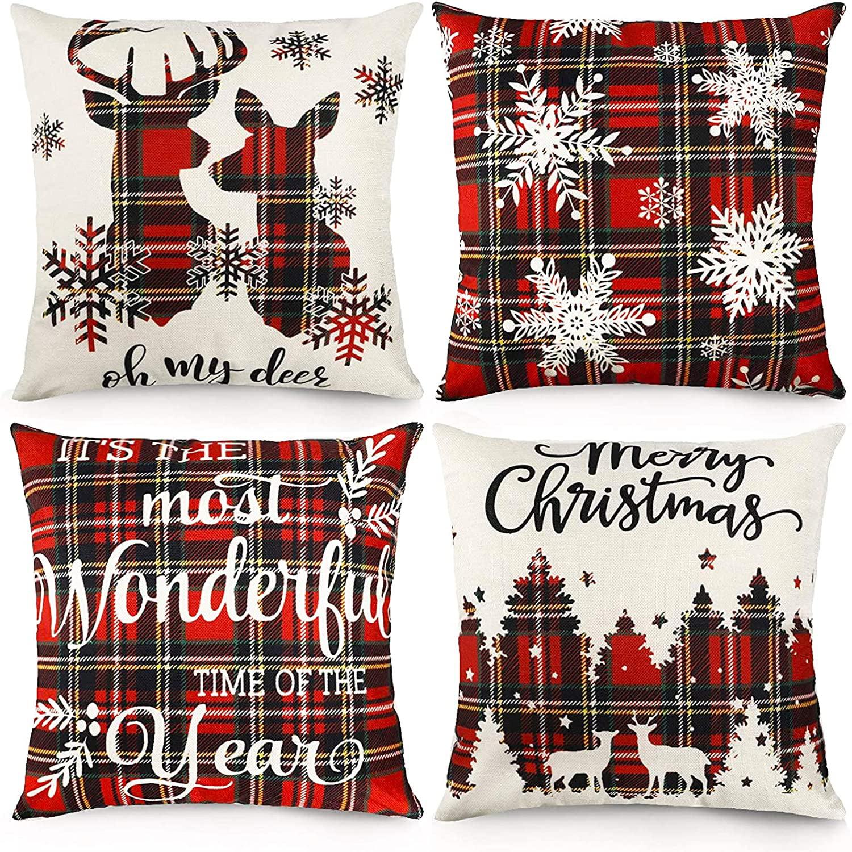 decorx christmas pillow covers 18x18 inches christmas scottish tartan plaid decorative pillows farmhouse throw pillowcase cotton linen cushion case