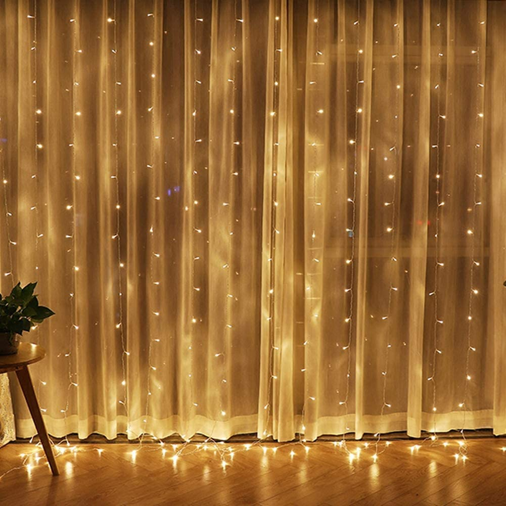 twinkle star 300 led window curtain string light for christmas wedding party home garden bedroom outdoor indoor wall decorations warm white