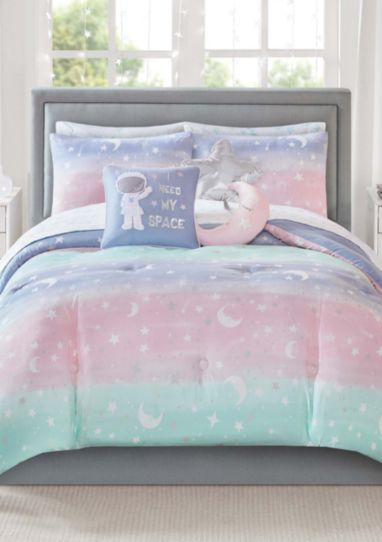 pastel rainbow stardust moon stars girls colorful reversible twin comforter set 6 piece bed in a bag