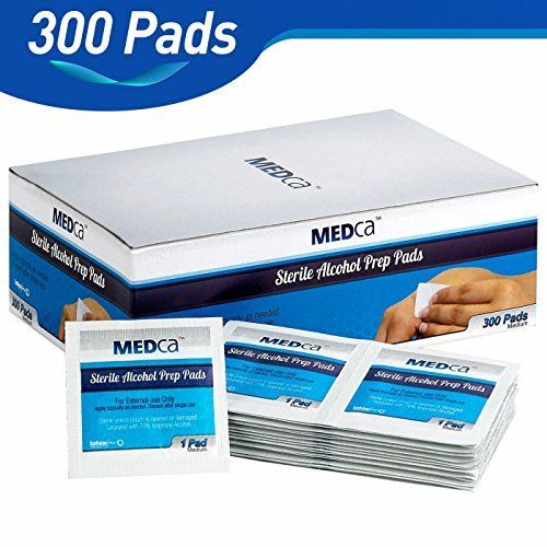 MEDca Excellent Alcohol Prep Pads, Sterile in Medium with 2-Ply – Pack of 300