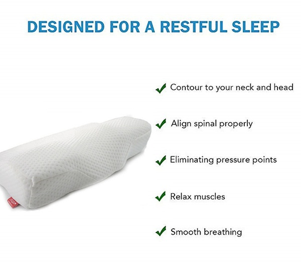 anti snore slow rebound memory foam pillow cervical contour pillow health pillow for neck pain back side sleepers with washable pillow case