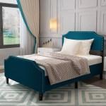 Mecor Upholstered Linen Platform Bed Blue Fabric Full Size Bed Frame With Curved Headboard Nailhead Trim Design Headboard Height Adjustable Blue Full Walmart Com Walmart Com