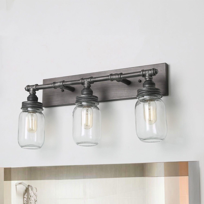 lnc 3 light dark pewter vanity lights bathroom wall sconces