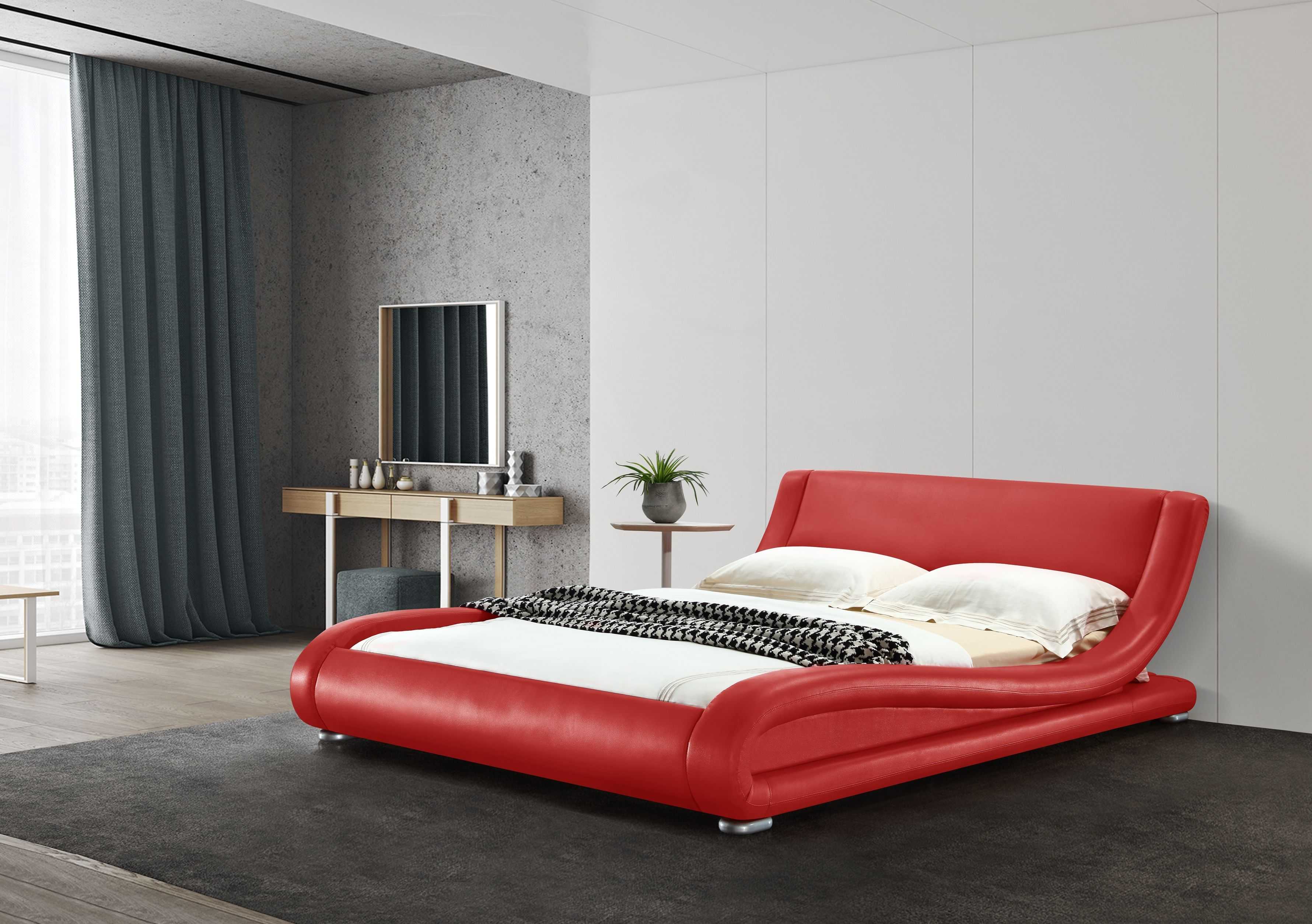 Greatime B Contemporary Upholstered Platform Bed